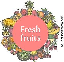 autocollant, marque, vecteur, fruits, frais, signe, icône