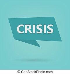 autocollant, mot, crise