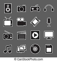 autocollant, multimédia, icône