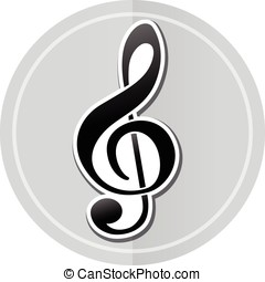 autocollant, musique, icône