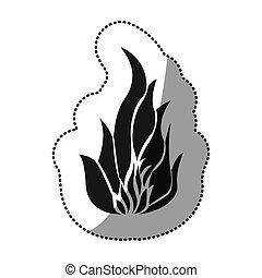autocollant, noir, silhouette, brûler, flamme, icône