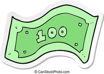 autocollant, note, dollar, 100, dessin animé