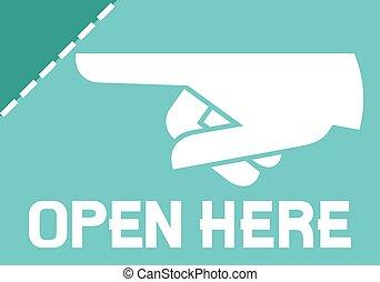 autocollant, ouvert, ou, ici, étiquette
