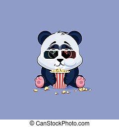 autocollant, panda, caractère, dessin animé, mastication, film regardant, 3d, emoticon, pop-corn, illustration, lunettes, emoji