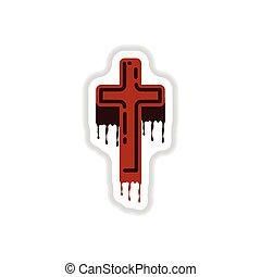 autocollant, papier, croix, fond, sanguine