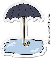 autocollant, parapluie, dessin animé, mouillé