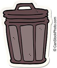 autocollant, poubelle, dessin animé