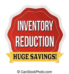 autocollant, réduction, ou, inventaire, étiquette