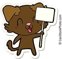 autocollant, rire, chien, dessin animé, signe