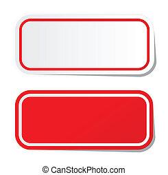 autocollant, rouges, vide
