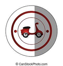 autocollant, scooter, forme, coloré, circulaire