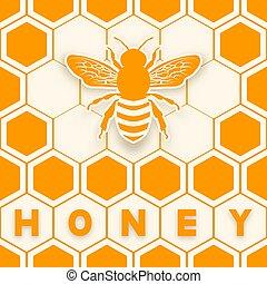 autocollant, silhouette, abeille, fond, rayon miel, miel