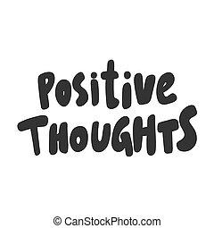 autocollant, thoughts., vecteur, content., design., média, main, dessiné, positif, illustration, social