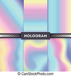 autocollant, vecteur, arrière-plans, coloré, hologramme