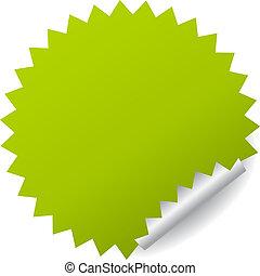 autocollant, vecteur, vert