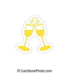 autocollant, verre vin, réaliste, papier, conception, icône