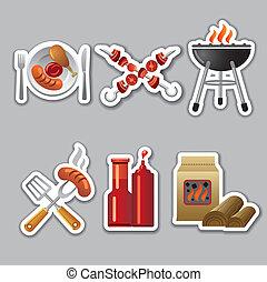 autocollants, barbecue