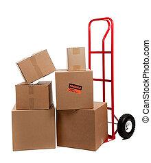 autocollants, boîtes, en mouvement, fragile