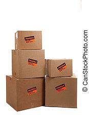 autocollants, boîtes, fragile, en mouvement