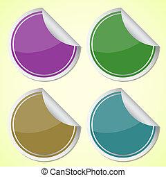autocollants, cercle, ensemble, coloré