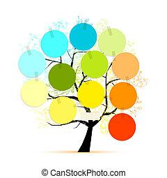 autocollants, conception, art, ton, arbre