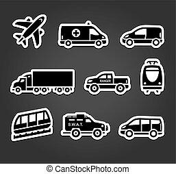 autocollants, ensemble, transport, icônes