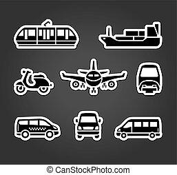autocollants, ensemble, transport, signes