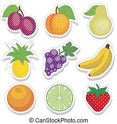 autocollants, fruit, points polka