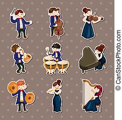 autocollants, orchestre, joueur musique