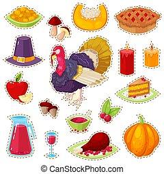 autocollants, thanksgiving, jour