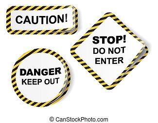 autocollants, vecteur, bande, danger