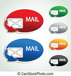 autocollants, vecteur, -, courrier, icônes