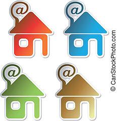 autocollants, vecteur, -, email, maison