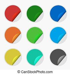 autocollants, vecteur, ensemble, coloré