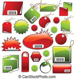 autocollants, ventes, étiquettes