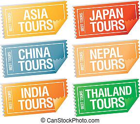 autocollants, voyage, tickets.