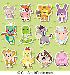 autocollants, zodiaque, 12, chinois, animal