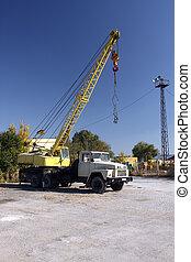 autocrane  in a construction base