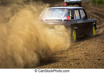 Autocross on a dusty road