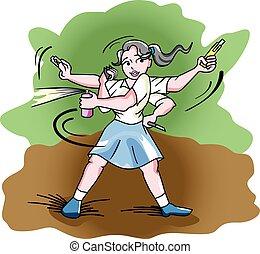 autodefensa, ilustración