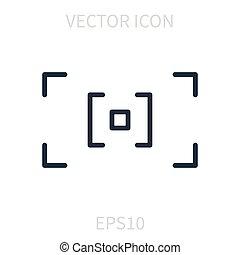autofocus, ベクトル, 線である, icon.