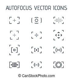 autofocus, ベクトル, 線である, icons.