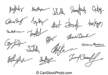 Autographs Set. Collection of Business Contract Signatures...