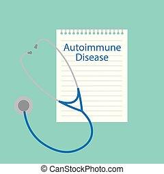 Autoimmune disease written in a notebook- vector...