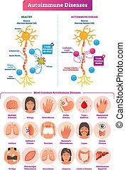 Autoimmune diseases vector illustration. Various illness...
