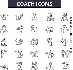 autokar, nárys, dát, ikona, povolání, illustration:, vector., podpis, řádka, pojem