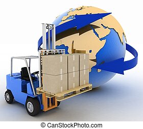 autoloader with boxes on background globe. Conception of...