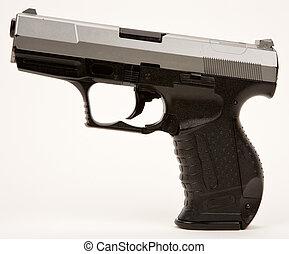 automático, arma de fuego, semi, mano