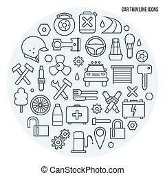 automático, jogo, serviço, ícones