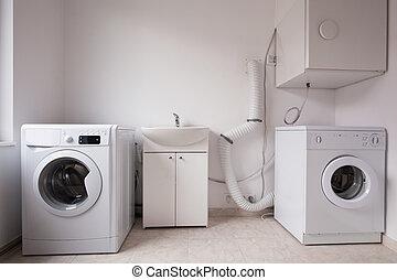 automático, lavadoras, en, lavadero